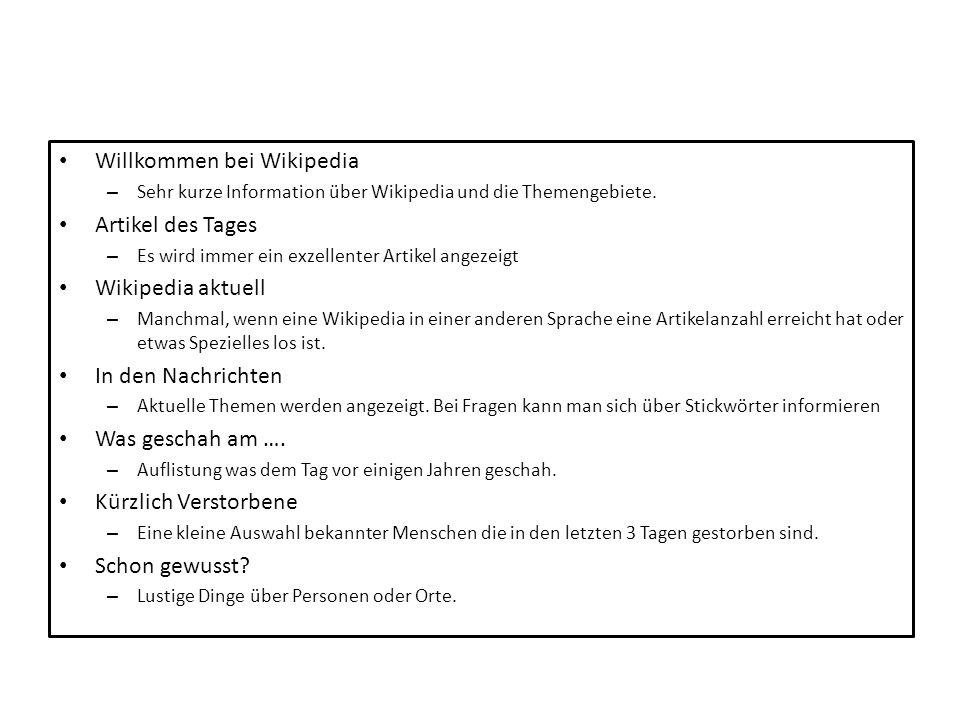 Willkommen bei Wikipedia Artikel des Tages Wikipedia aktuell