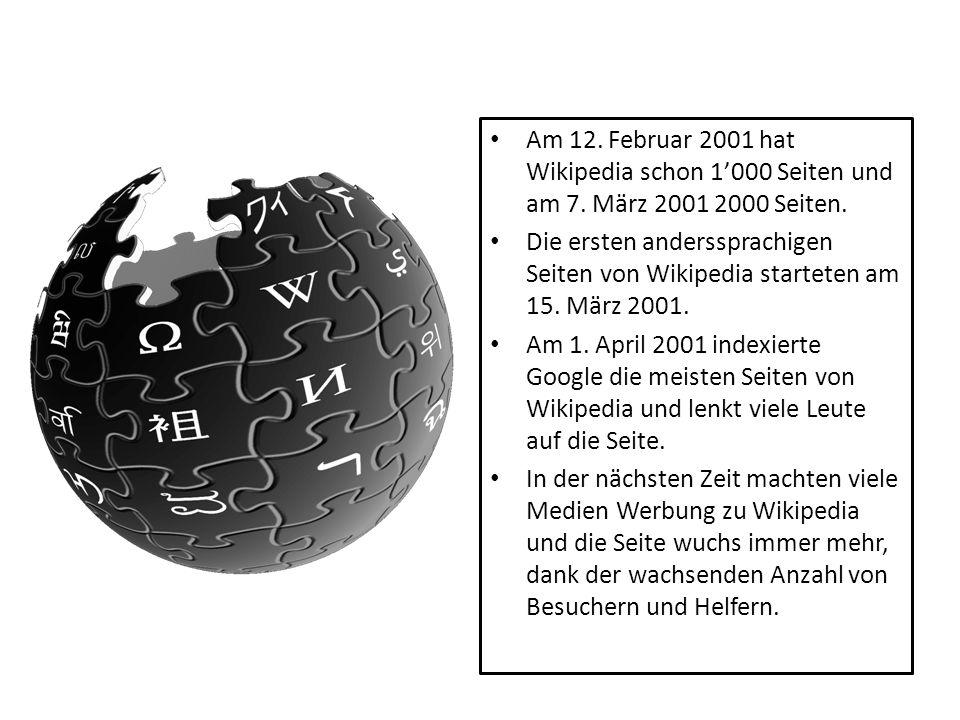 Am 12. Februar 2001 hat Wikipedia schon 1'000 Seiten und am 7