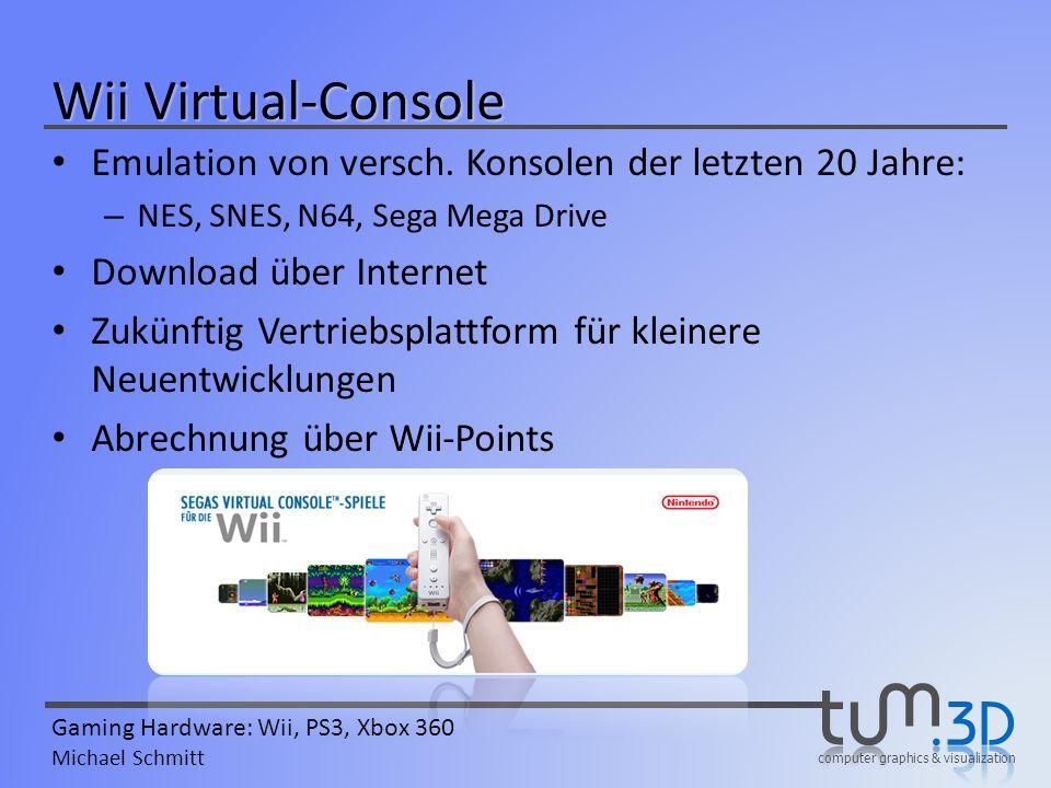 Wii Virtual-Console Emulation von versch. Konsolen der letzten 20 Jahre: NES, SNES, N64, Sega Mega Drive.