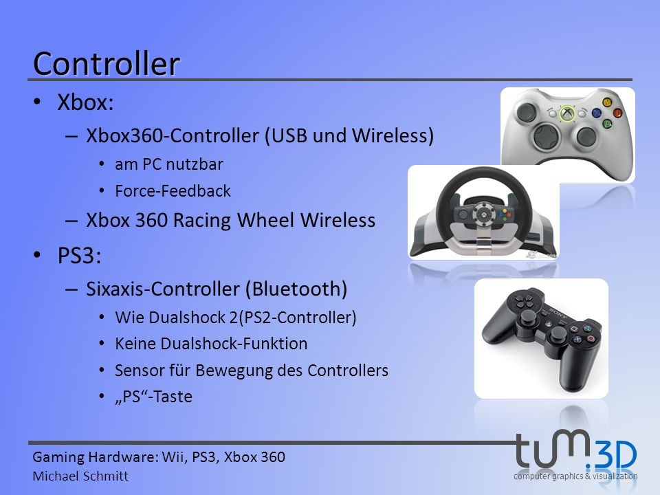 Controller Xbox: PS3: Xbox360-Controller (USB und Wireless)
