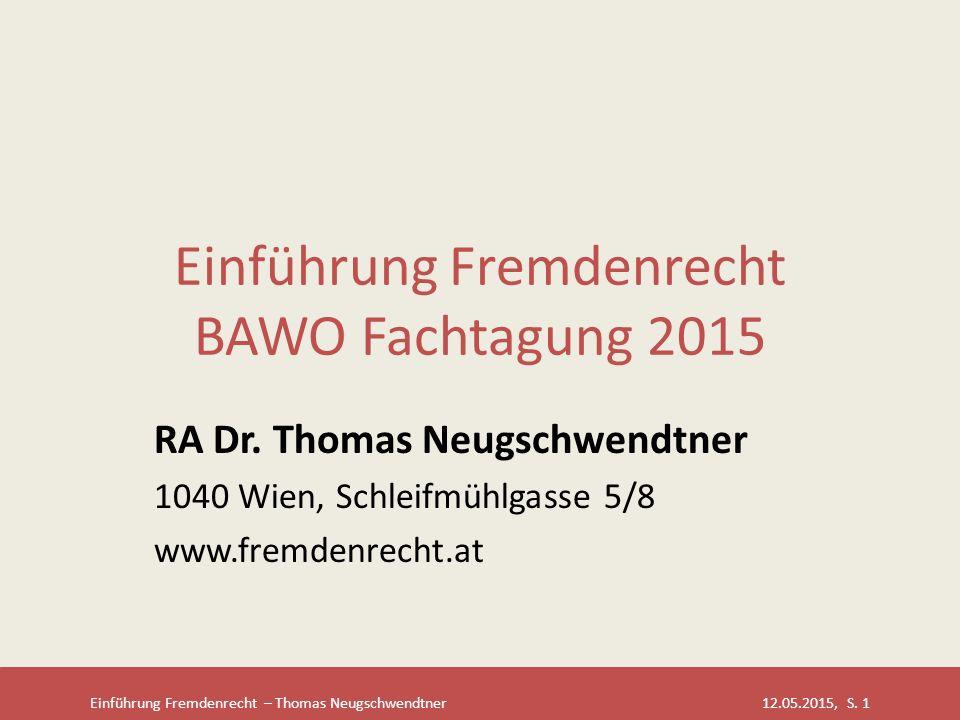 Einführung Fremdenrecht BAWO Fachtagung 2015