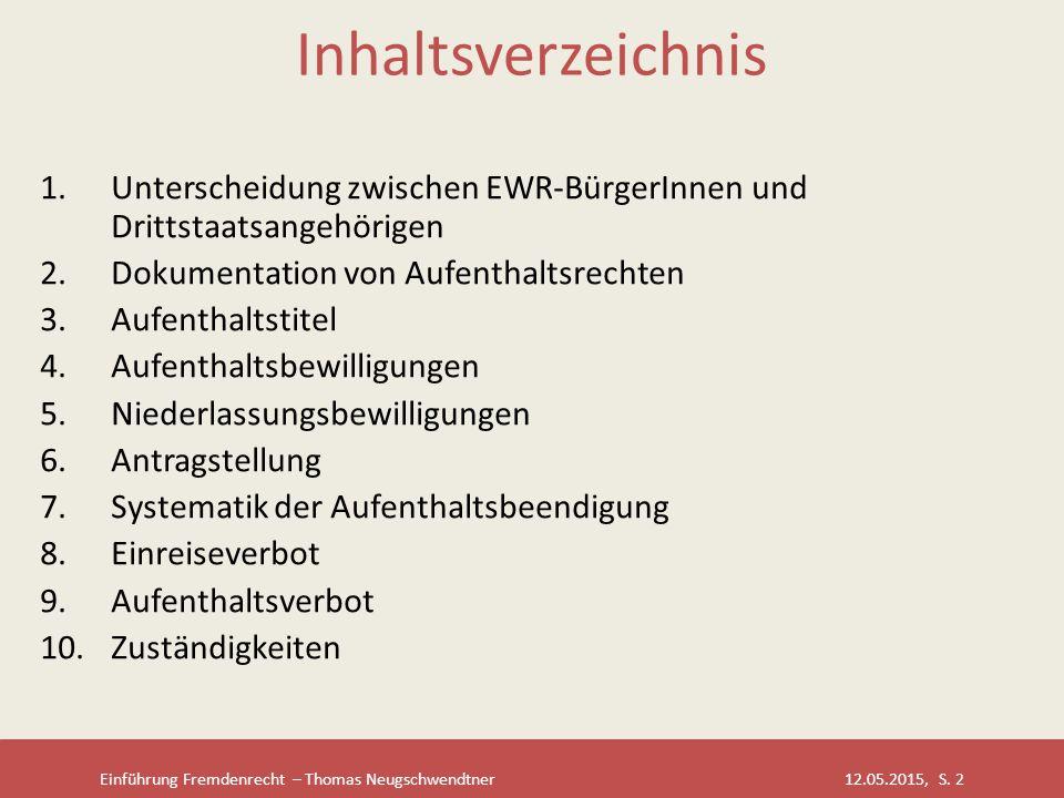 Inhaltsverzeichnis Unterscheidung zwischen EWR-BürgerInnen und Drittstaatsangehörigen. Dokumentation von Aufenthaltsrechten.