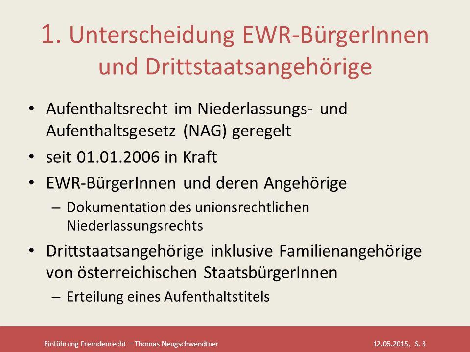 1. Unterscheidung EWR-BürgerInnen und Drittstaatsangehörige