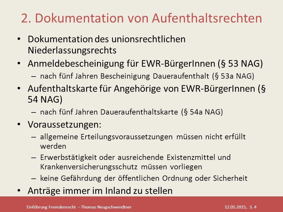 2. Dokumentation von Aufenthaltsrechten