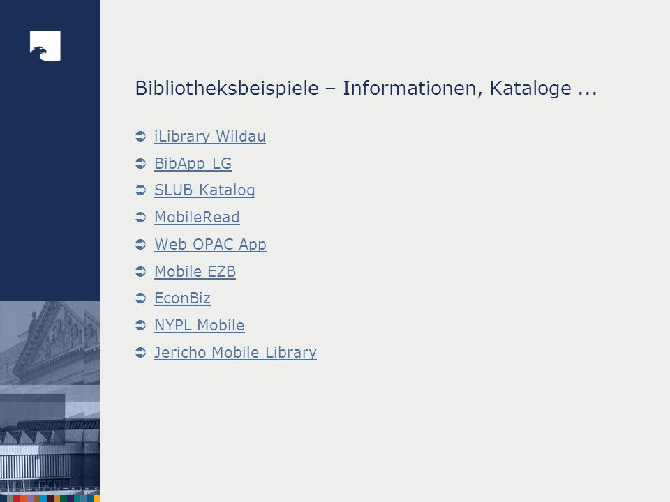 Bibliotheksbeispiele – Informationen, Kataloge ...