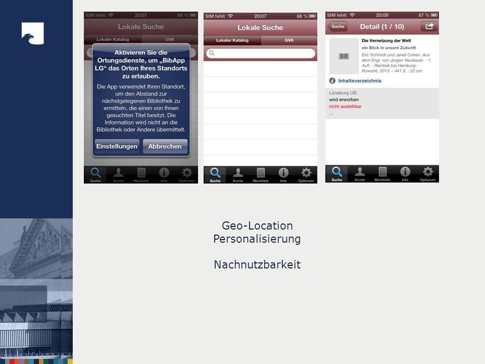 Geo-Location Personalisierung Nachnutzbarkeit