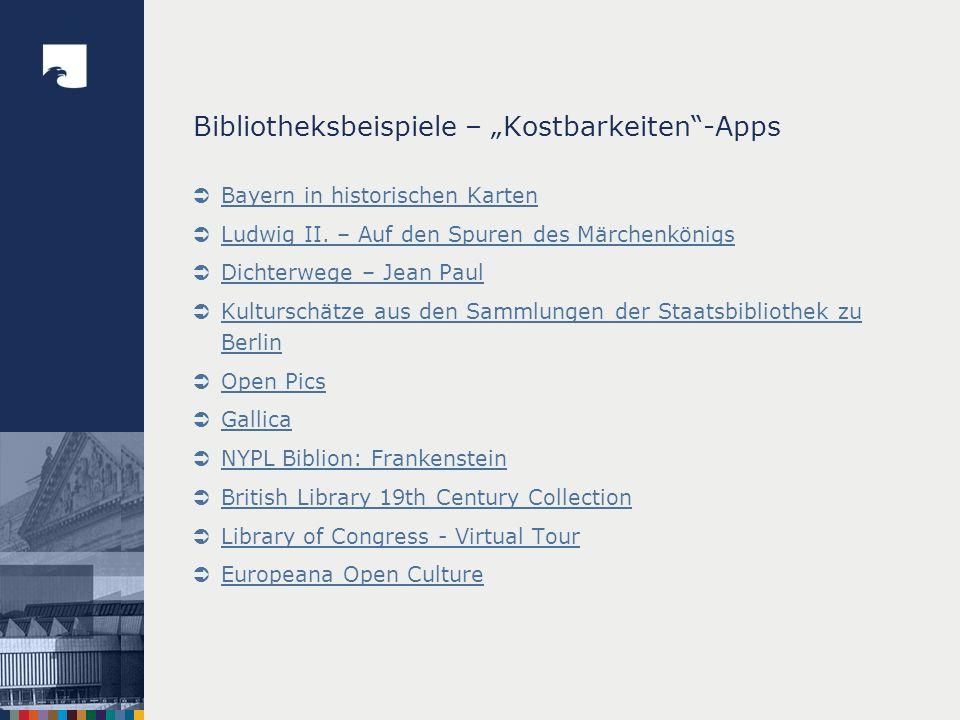"""Bibliotheksbeispiele – """"Kostbarkeiten -Apps"""