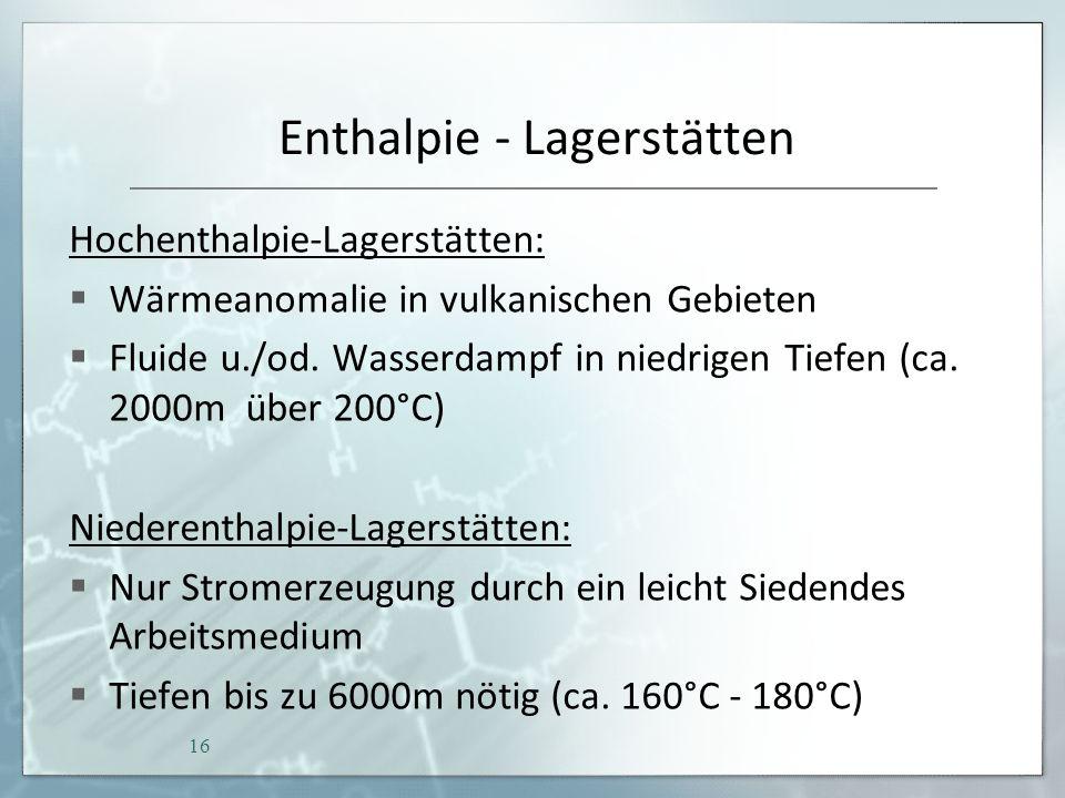 Enthalpie - Lagerstätten