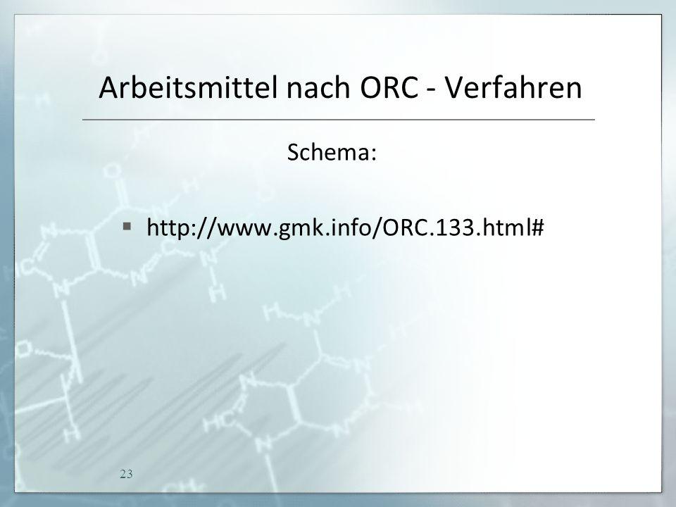 Arbeitsmittel nach ORC - Verfahren