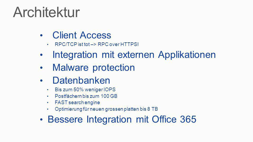 Architektur Client Access Integration mit externen Applikationen