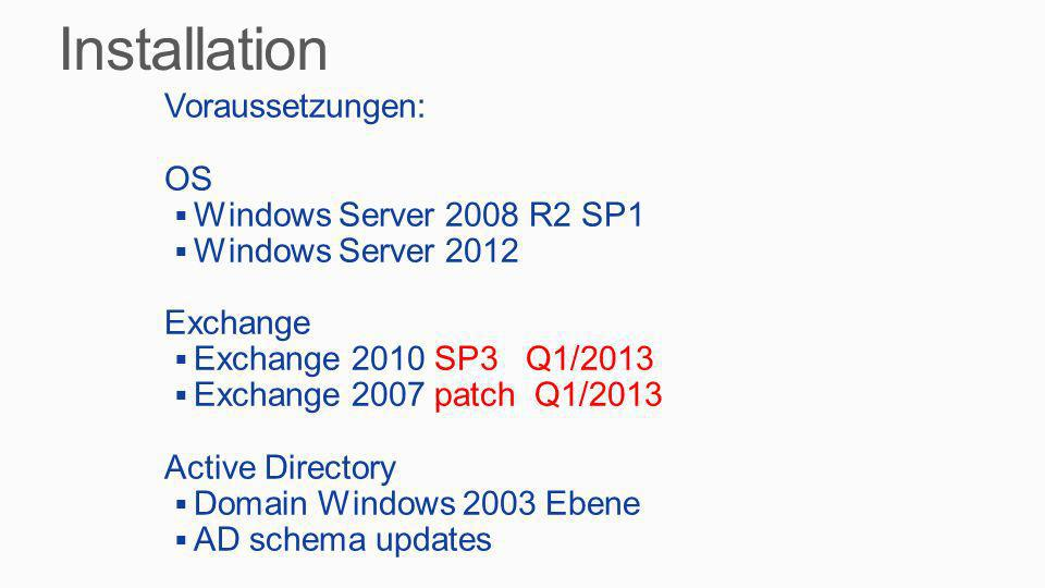 Installation Voraussetzungen: OS Windows Server 2008 R2 SP1