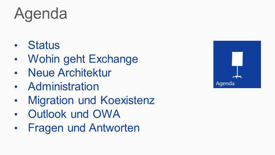 Agenda Status Wohin geht Exchange Neue Architektur Administration