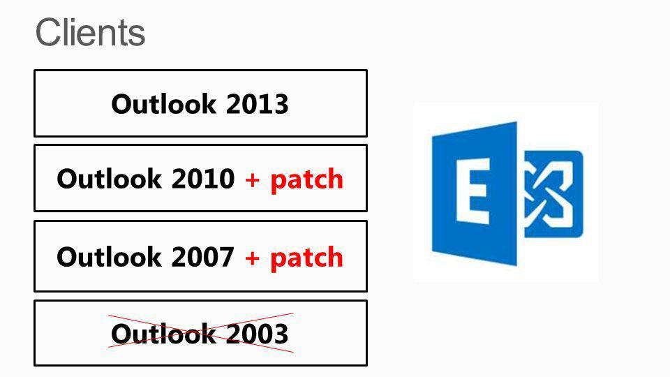 Clients Outlook 2013 Outlook 2010 + patch Outlook 2007 + patch