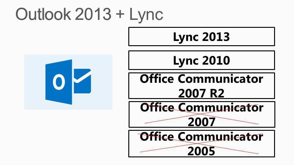 Outlook 2013 + Lync Outlook 2013 Lync 2013 Lync 2010