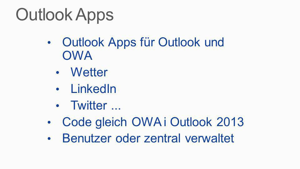 Outlook Apps Outlook Apps für Outlook und OWA Wetter LinkedIn