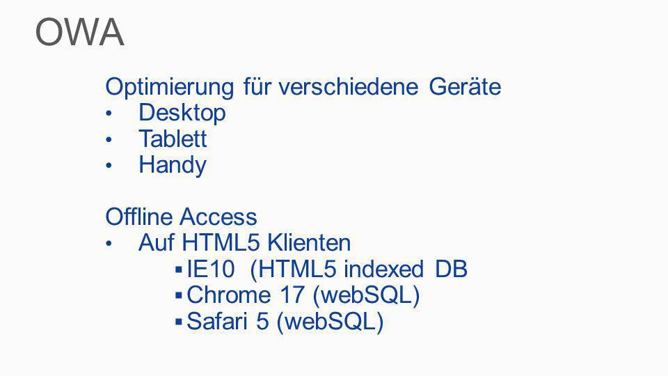 OWA Optimierung für verschiedene Geräte Desktop Tablett Handy