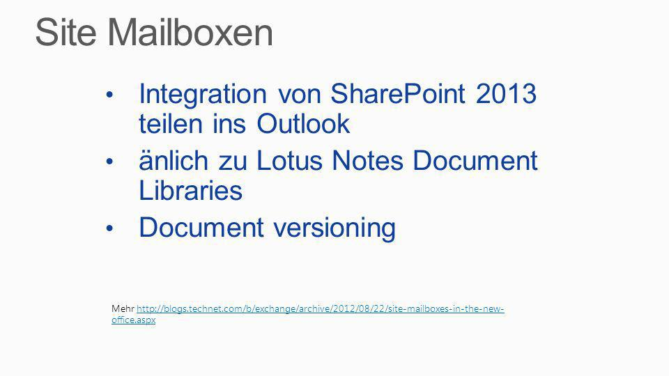 Site Mailboxen Integration von SharePoint 2013 teilen ins Outlook