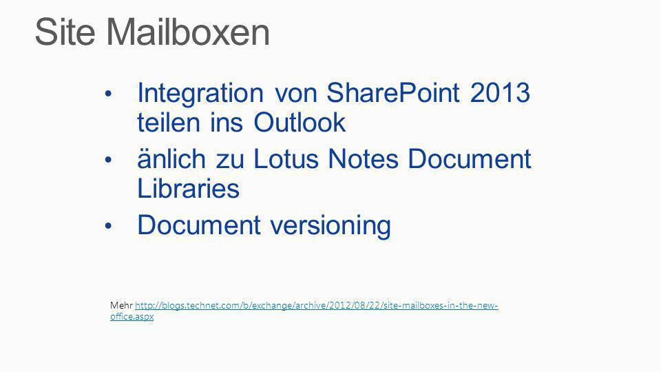 Site Mailboxen Integration von SharePoint 2013 teilen ins Outlook