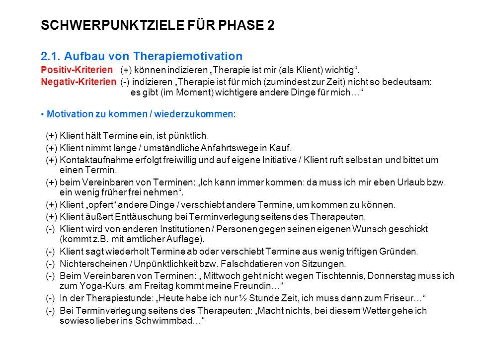 SCHWERPUNKTZIELE FÜR PHASE 2