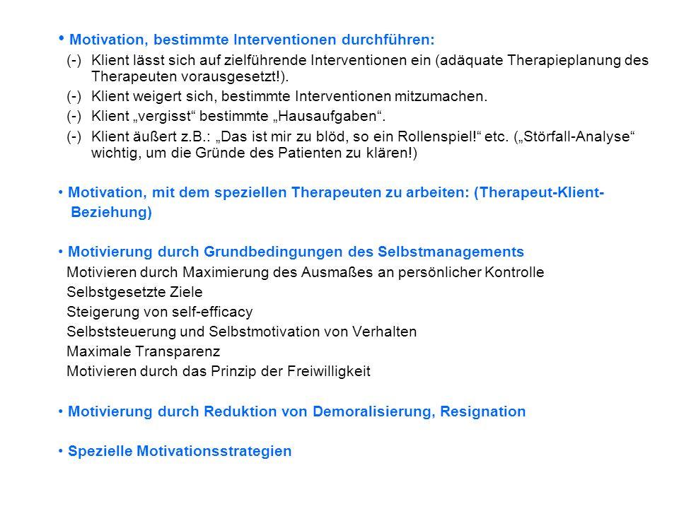 Motivation, bestimmte Interventionen durchführen: