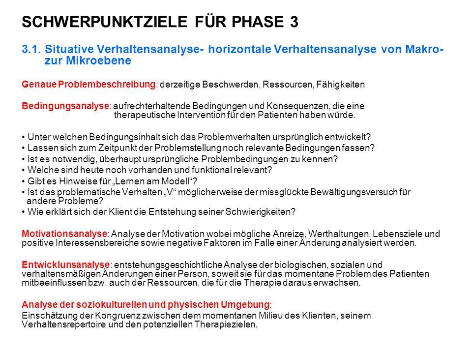 SCHWERPUNKTZIELE FÜR PHASE 3
