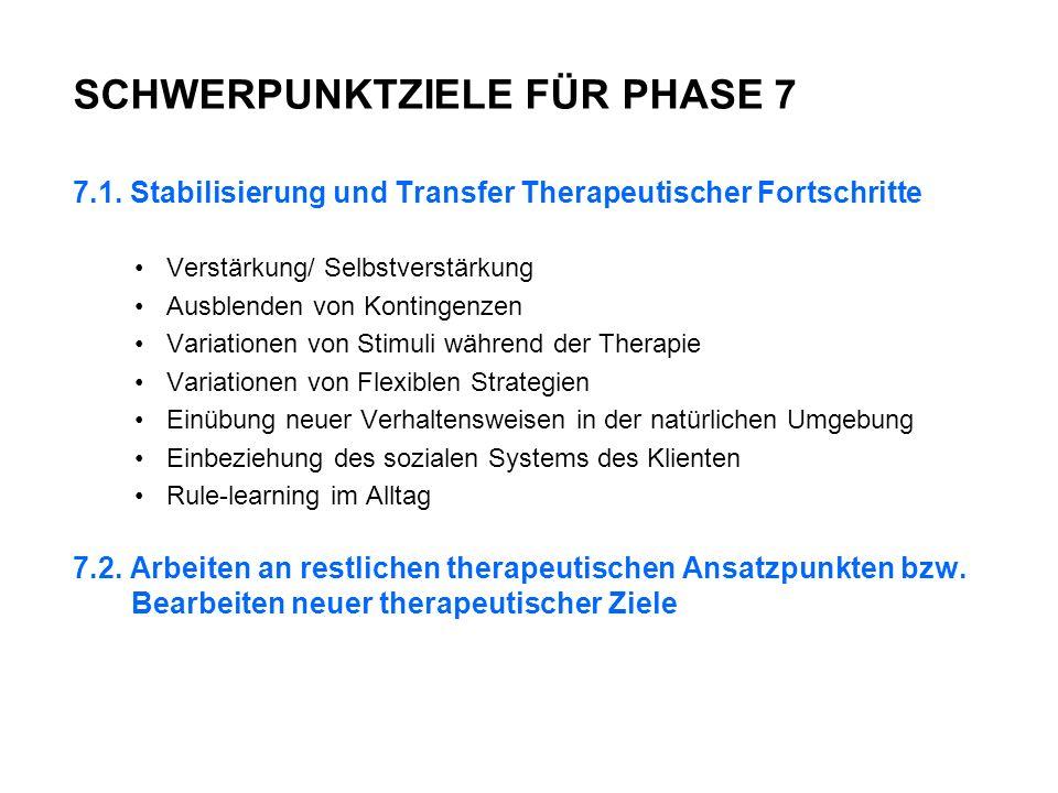 SCHWERPUNKTZIELE FÜR PHASE 7