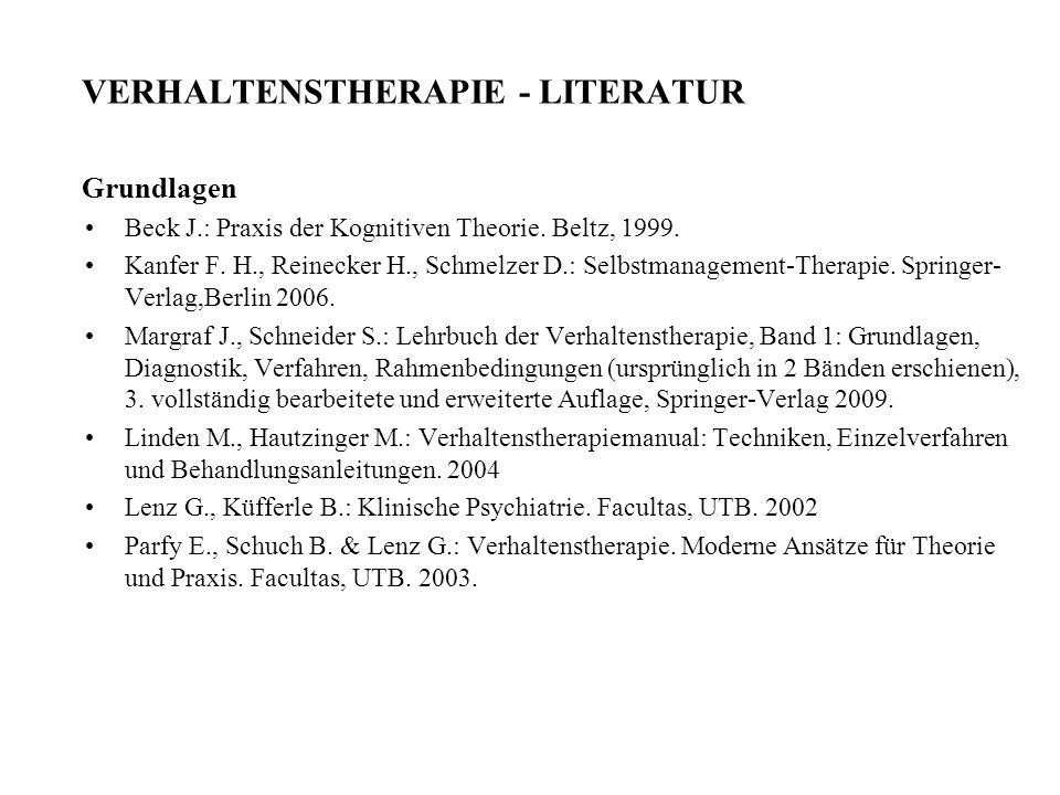 VERHALTENSTHERAPIE - LITERATUR