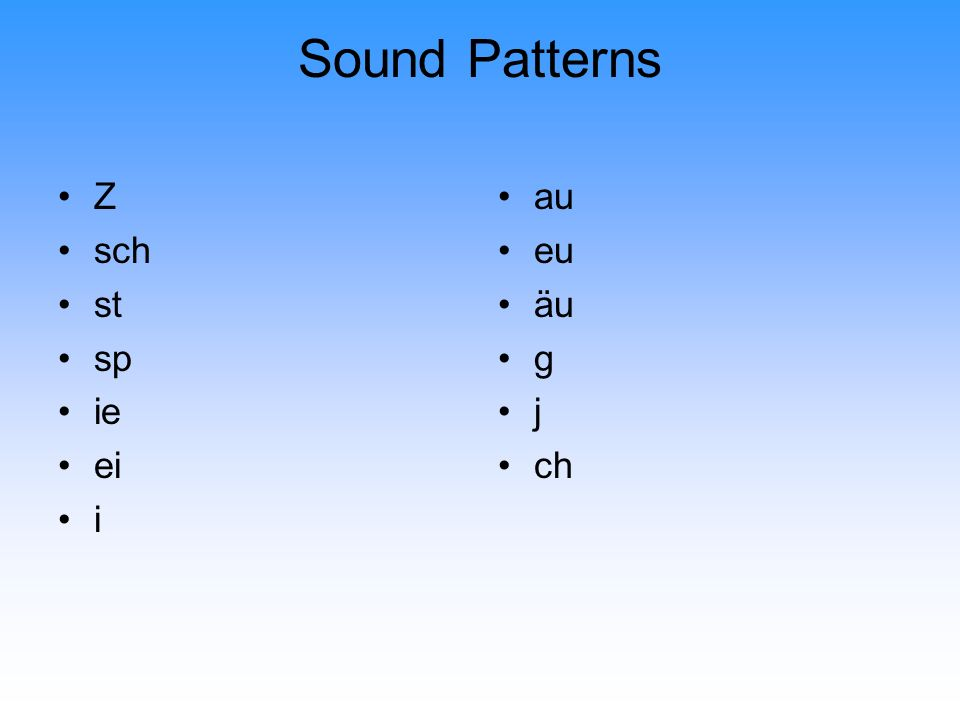 Sound Patterns Z sch st sp ie ei i au eu äu g j ch