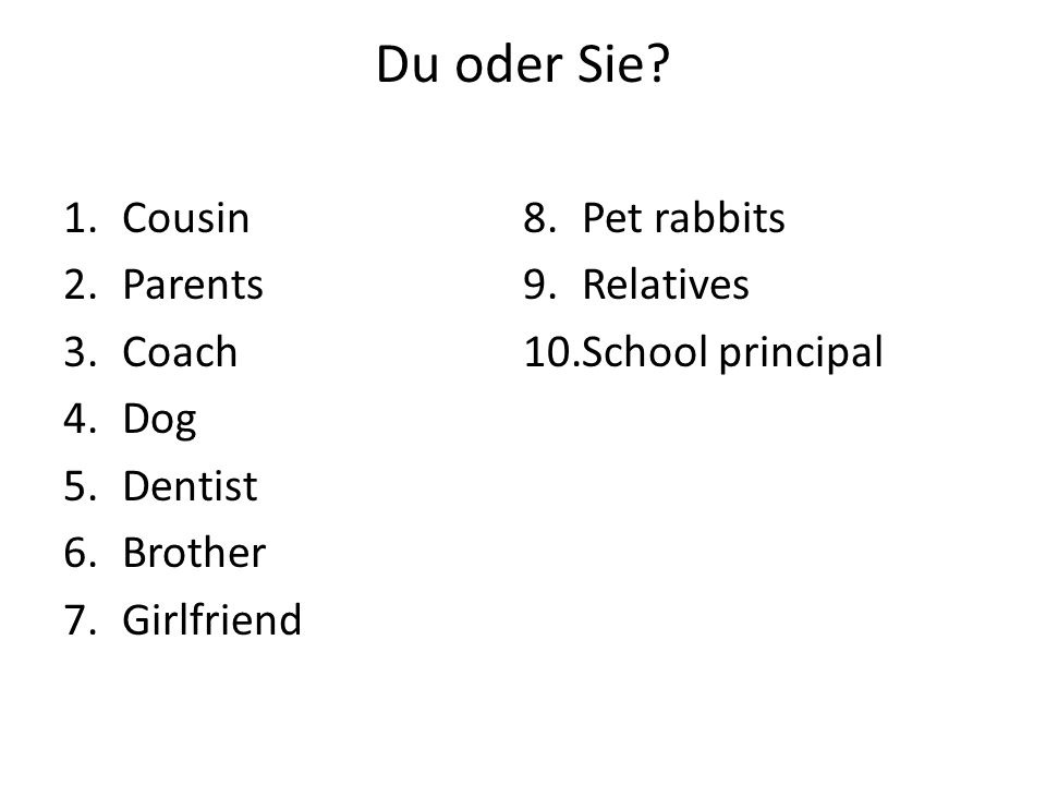 Du oder Sie Cousin Pet rabbits Parents Relatives Coach