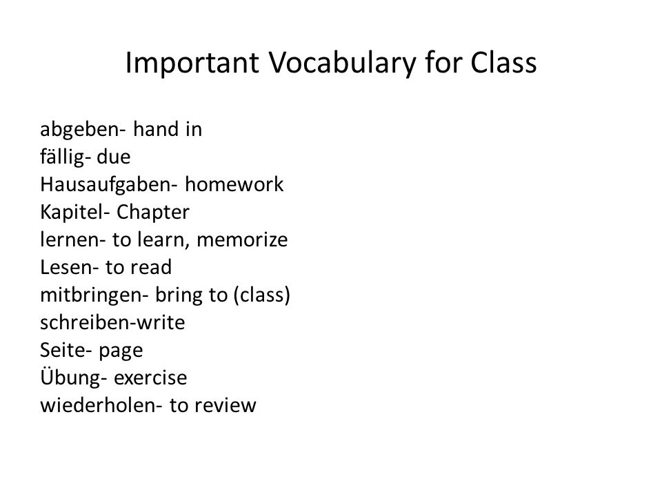 Important Vocabulary for Class