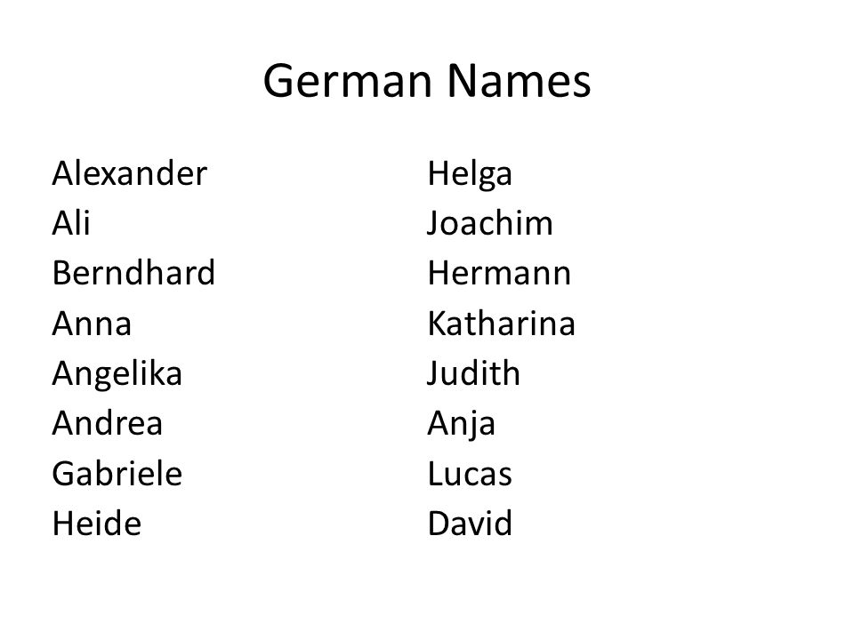 German Names Alexander Ali Berndhard Anna Angelika Andrea Gabriele Heide Helga Joachim Hermann Katharina Judith Anja Lucas David