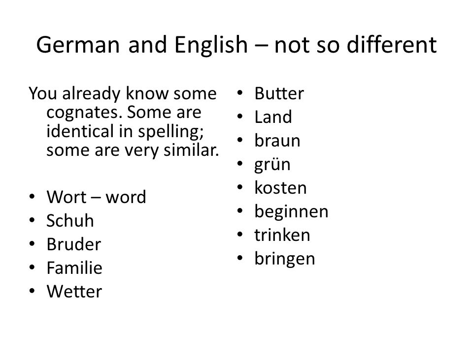 German and English – not so different