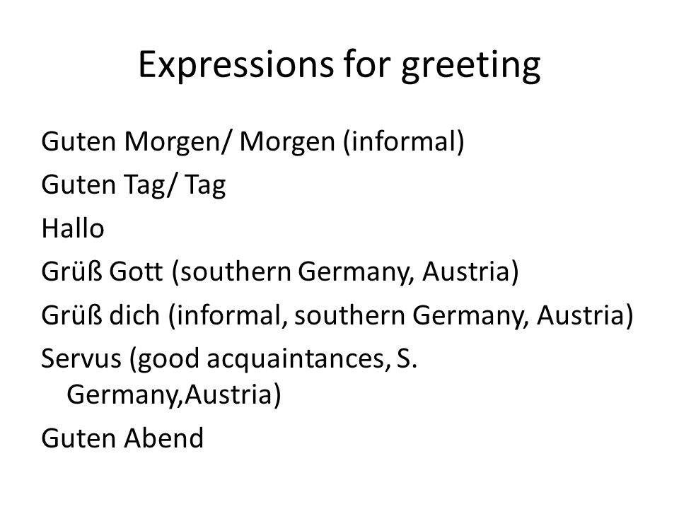 Expressions for greeting