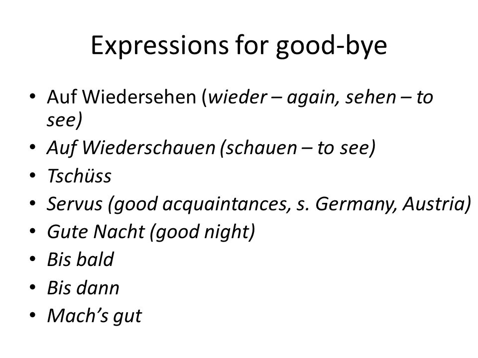 Expressions for good-bye