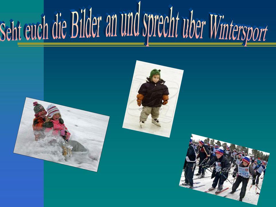 Seht euch die Bilder an und sprecht uber Wintersport