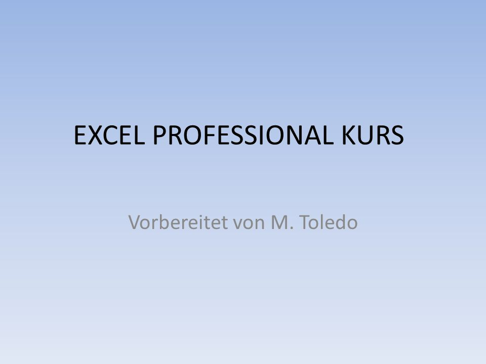 EXCEL PROFESSIONAL KURS