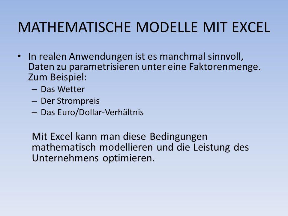 MATHEMATISCHE MODELLE MIT EXCEL