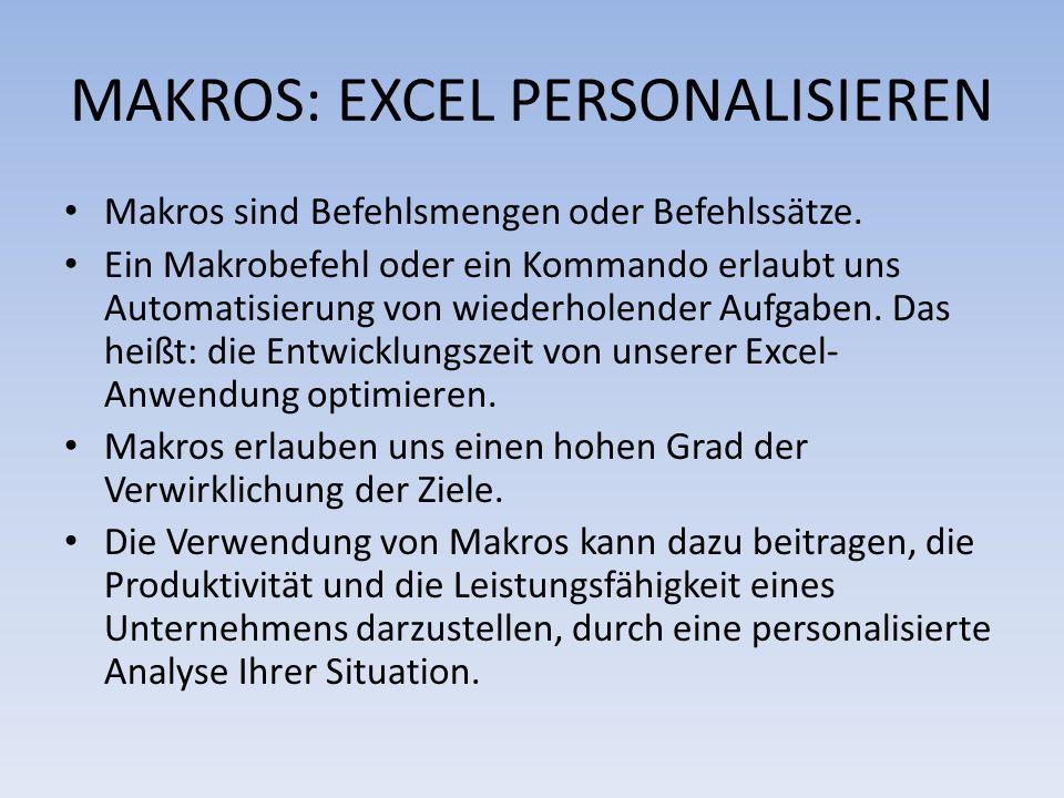 MAKROS: EXCEL PERSONALISIEREN