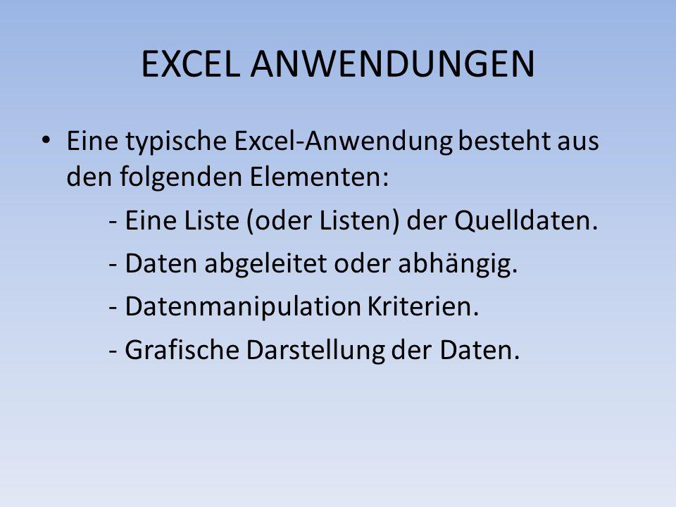 EXCEL ANWENDUNGEN Eine typische Excel-Anwendung besteht aus den folgenden Elementen: - Eine Liste (oder Listen) der Quelldaten.