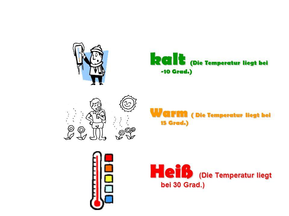 Heiß (Die Temperatur liegt bei 30 Grad.)