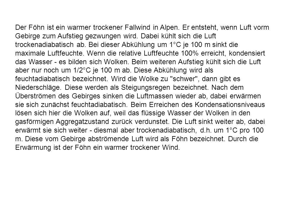 Der Föhn ist ein warmer trockener Fallwind in Alpen
