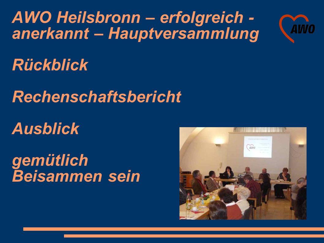 AWO Heilsbronn – erfolgreich - anerkannt – Hauptversammlung Rückblick Rechenschaftsbericht Ausblick gemütlich Beisammen sein