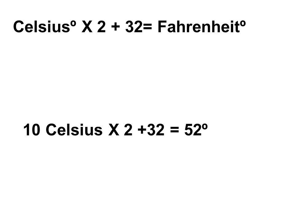 Celsiusº X 2 + 32= Fahrenheitº