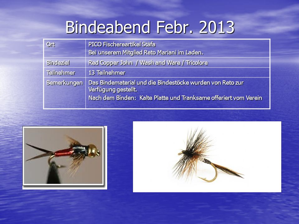 Bindeabend Febr. 2013 Ort PICO Fischereartikel Stäfa