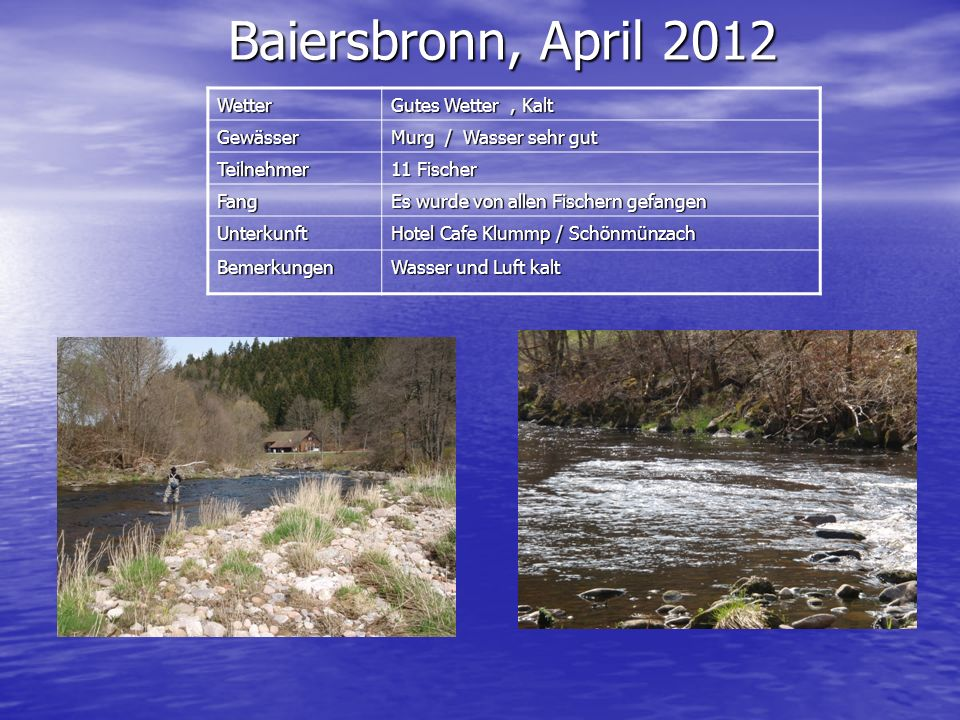 Baiersbronn, April 2012 Wetter Gutes Wetter , Kalt Gewässer