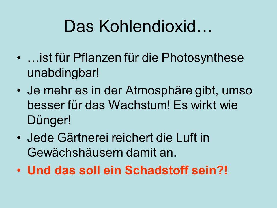 Das Kohlendioxid… …ist für Pflanzen für die Photosynthese unabdingbar!