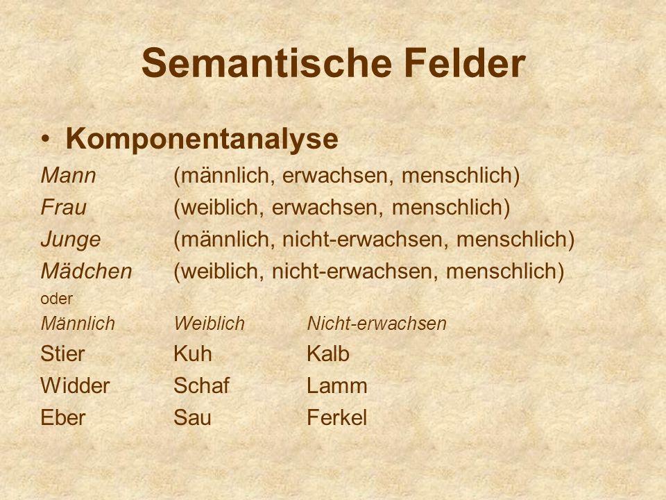 Semantische Felder Komponentanalyse