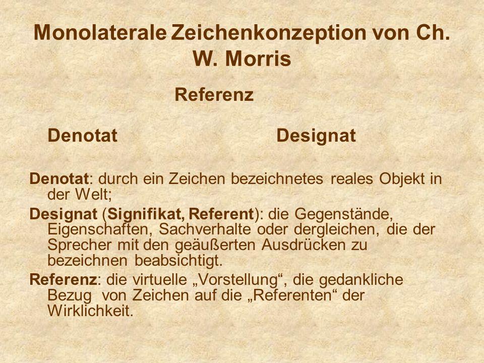 Monolaterale Zeichenkonzeption von Ch. W. Morris
