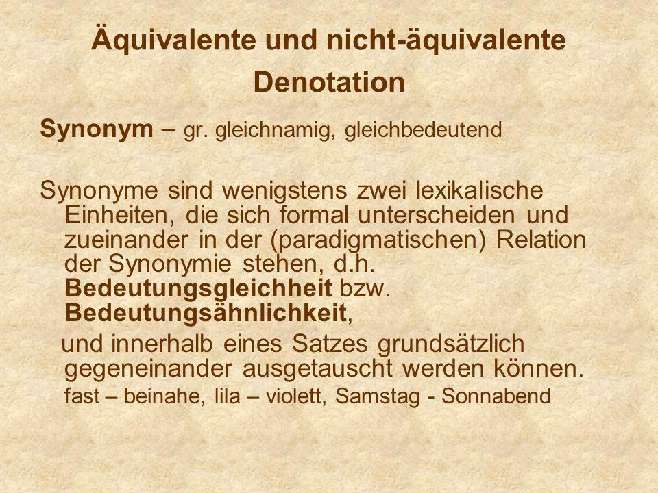 Äquivalente und nicht-äquivalente Denotation