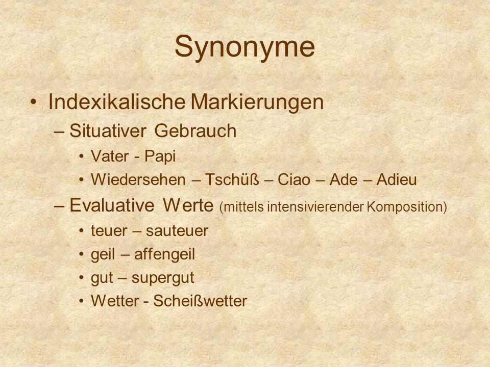 Synonyme Indexikalische Markierungen Situativer Gebrauch